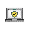 grated shield security protection inside laptop vector image