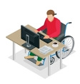 Handicapped man in wheelchair in a office working vector image vector image