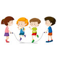 happy children playing jumprope vector image vector image