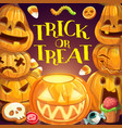 happy halloween trick or treat pumpkin monsters vector image vector image