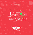 happy valentines day with handwritten love is all vector image