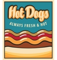 hot dog in retro style vector image vector image