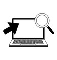 laptop computer magnifying glass and arrow vector image vector image