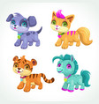 little cute cartoon animals icons set vector image