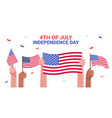 mix race human hands holding usa flags people vector image vector image