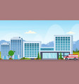 modern hospital building with ambulance car vector image