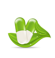 Natural medical pills with green leaves isolated vector image