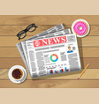newspaper cup coffee donut pencil vector image