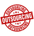 outsourcing round red grunge stamp vector image vector image
