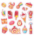 patches sweet strawberry dessert cherry ice vector image vector image