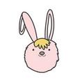 pink rabbit head adorable toy icon vector image vector image