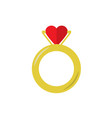 proposal golden ring with heart flat on white vector image