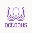purple octopus logo vector image vector image