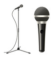 realistic detailed 3d microphone with stand vector image