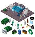 Recycling Center Isometric Design Concept vector image vector image