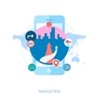 Road navigation in the city on smartphone flat vector image vector image