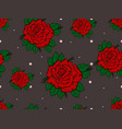 seamless pattern with red roses on gray background vector image