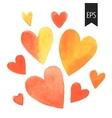 Set of orange watercolor hearts vector image