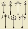 Set of vintage various ornamental streetlamps vector image vector image
