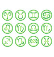 set of zodiac signs in green color vector image