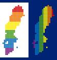 spectrum pixel dotted sweden map vector image vector image