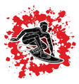 surfing sport man surfer action cartoon graphic vector image