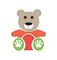 teddy bear icon flat design bear doll vector image