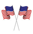 two 3d american flags vector image