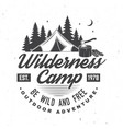 wilderness camp be wild and free vector image vector image