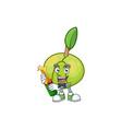 with beer fruit elephant apple cartoon mascot vector image vector image