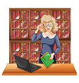 Woman with glasses in the library vector image