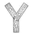 wooden letter y engraving vector image