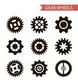 Flat Design Style Black Gear Wheels Icons Set vector image