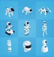 robots isometric icons set vector image