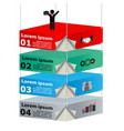 3d suspended platforms with icons for business vector image