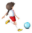 A female football player from Greece vector image vector image