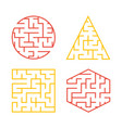 a set of colored labyrinths for children a square vector image vector image