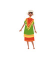 aztec girl in traditional clothes native american vector image