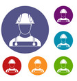 builder icons set vector image vector image
