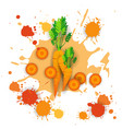 carrot vegetable logo watercolor splash design vector image