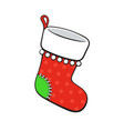 cartoon christmas red sock for gifts with contour vector image