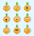 cartoon onion cute character face sticker vector image vector image