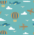 cartoon seamless pattern with planes and air vector image vector image
