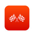 checkered racing flags icon digital red vector image vector image