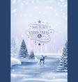 christmas card with reindeer and snowflakes vector image vector image
