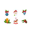 christmas decoration elements set new year vector image vector image