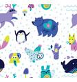 cute cartoon animals seamless pattern vector image