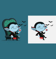 cute cartoon tiny dracula sit in a chair and vector image vector image