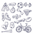 doodle set of sport equipment hand drawn vector image