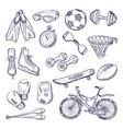 doodle set sport equipment hand drawn vector image